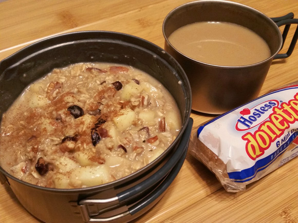 Apple Pecan Loaded Oatmeal - Lightweight Backpacking Recipe