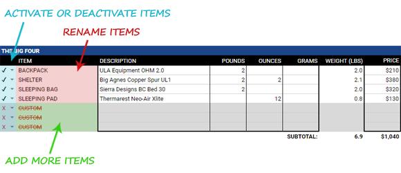 Backpacking Gear List Calculator Spreadsheet - Erik The Black\'s ...