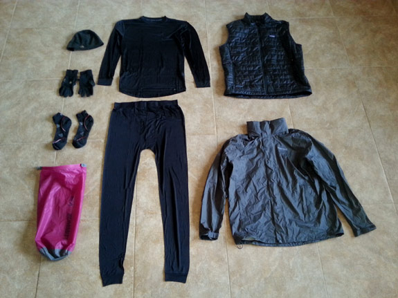 Erik the Black's Backpacking Gear List - Clothing Packed