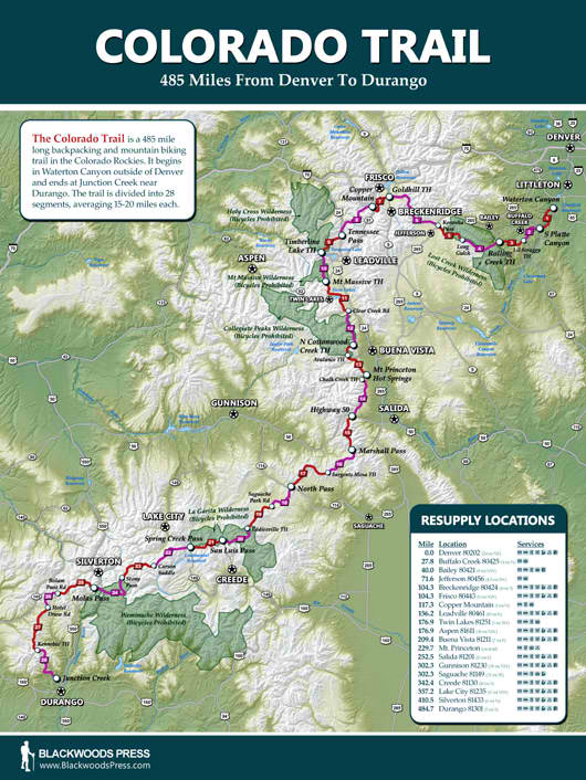 Colorado Trail Map  Blackwoods Press