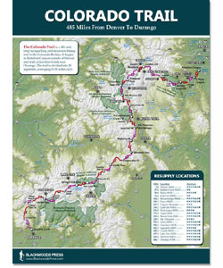 Colorado Trail Maps Blackwoods Press - Elevation map of colorado