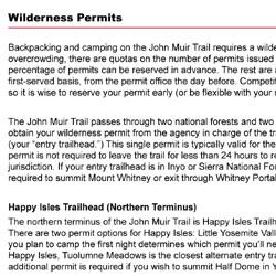 John Muir Trail Permits