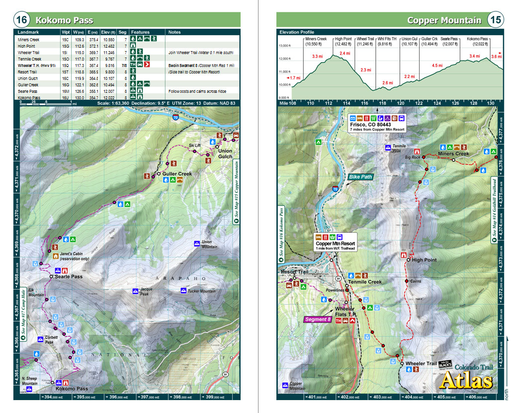 Colorado Trail Pocket Atlas  Colorado Trail Map