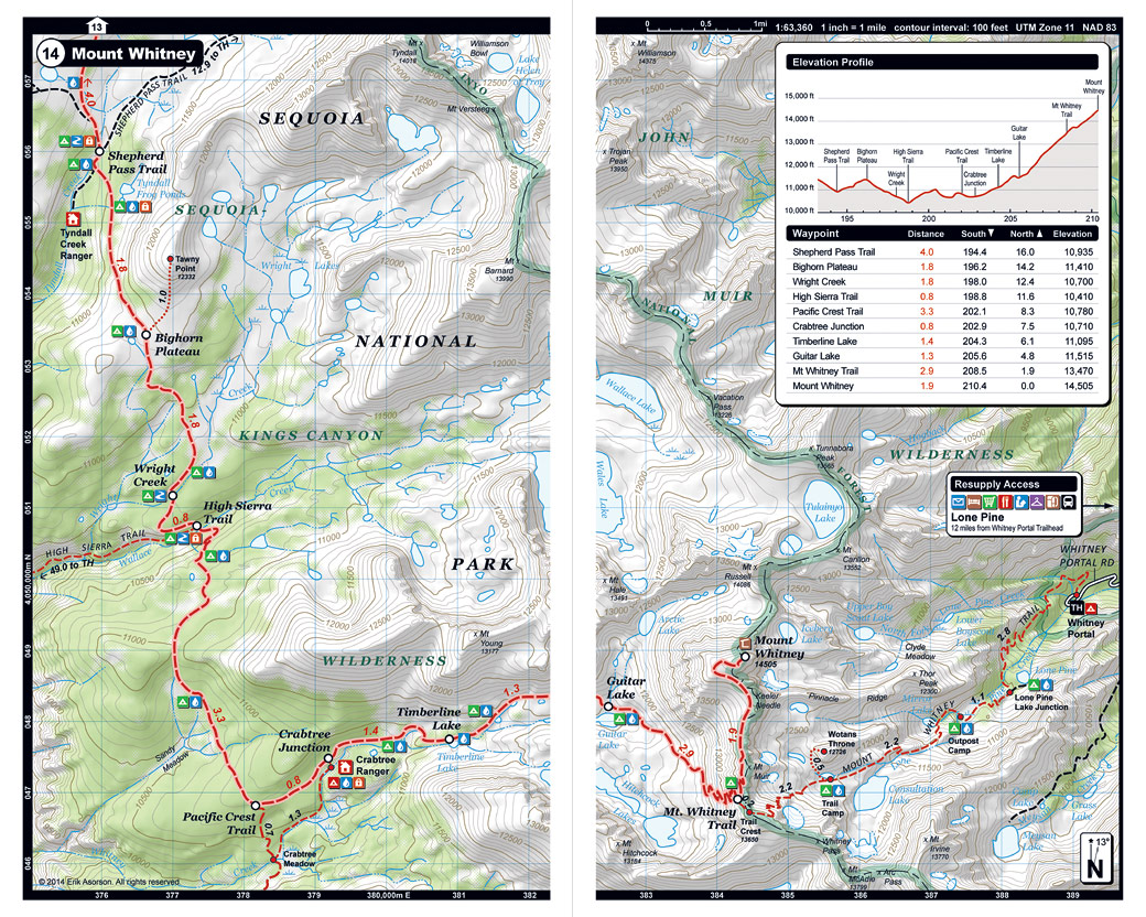 John Muir Trail Pocket Atlas  John Muir Trail Map  Blackwoods Press