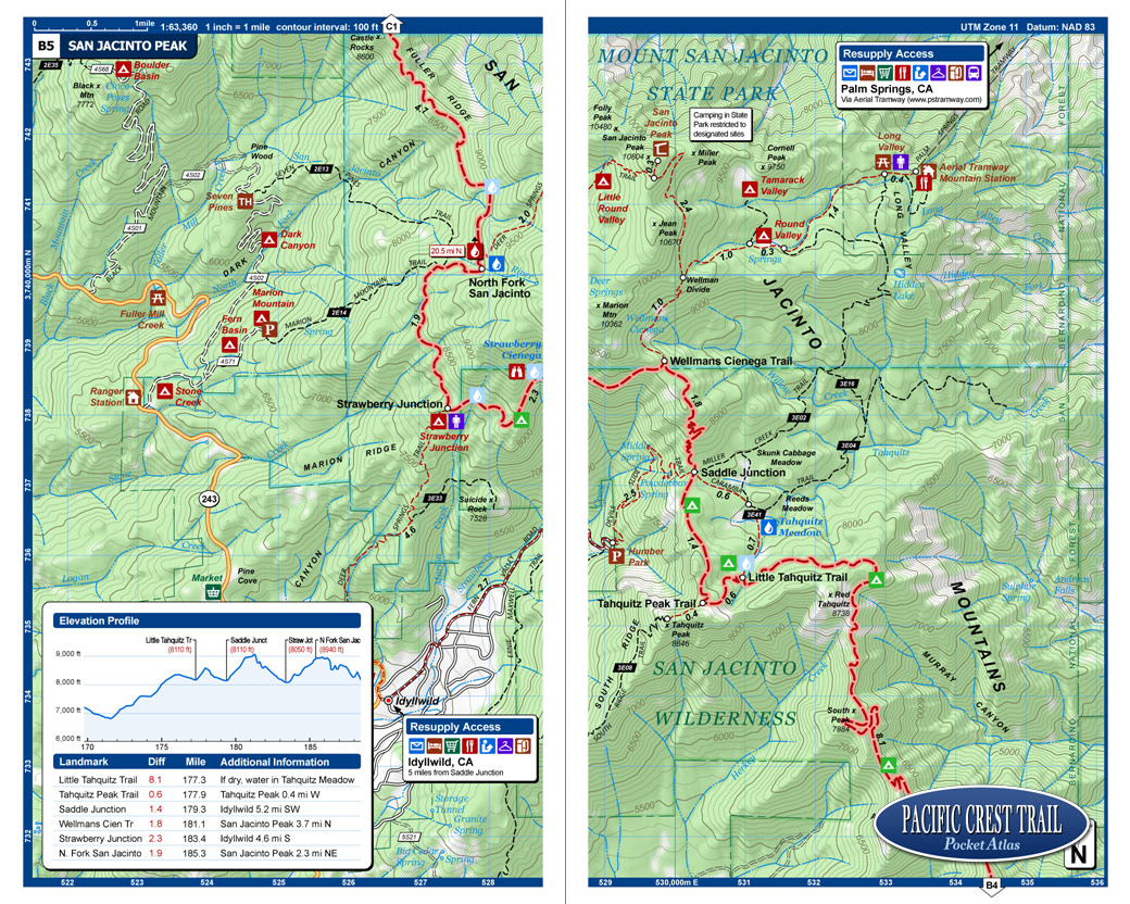 Pacific Crest Trail Pocket Atlas  Pacific Crest Trail Map