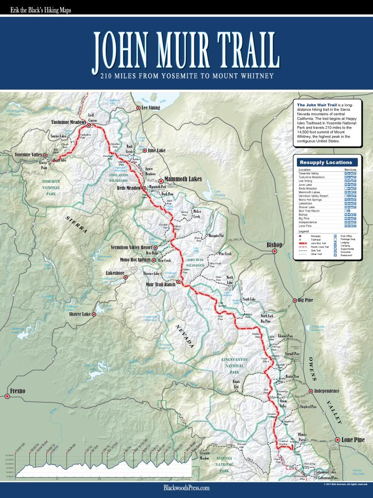 Wood Elevation Maps : John muir trail map blackwoods press