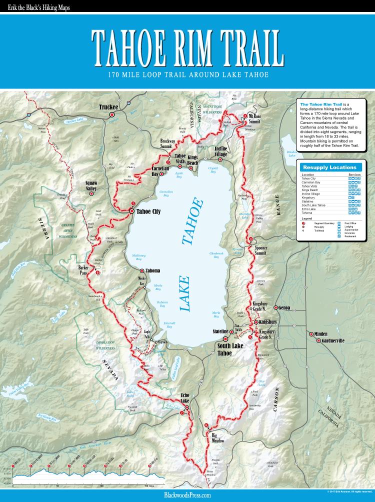 Tahoe Rim Trail Map Blackwoods Press