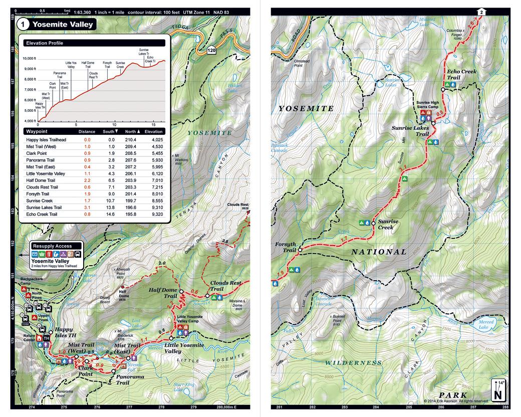 John Muir Trail Pocket Atlas John Muir Trail Map