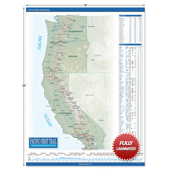 Laminated Pacific Crest Trail Wall Map | Blackwoods Press